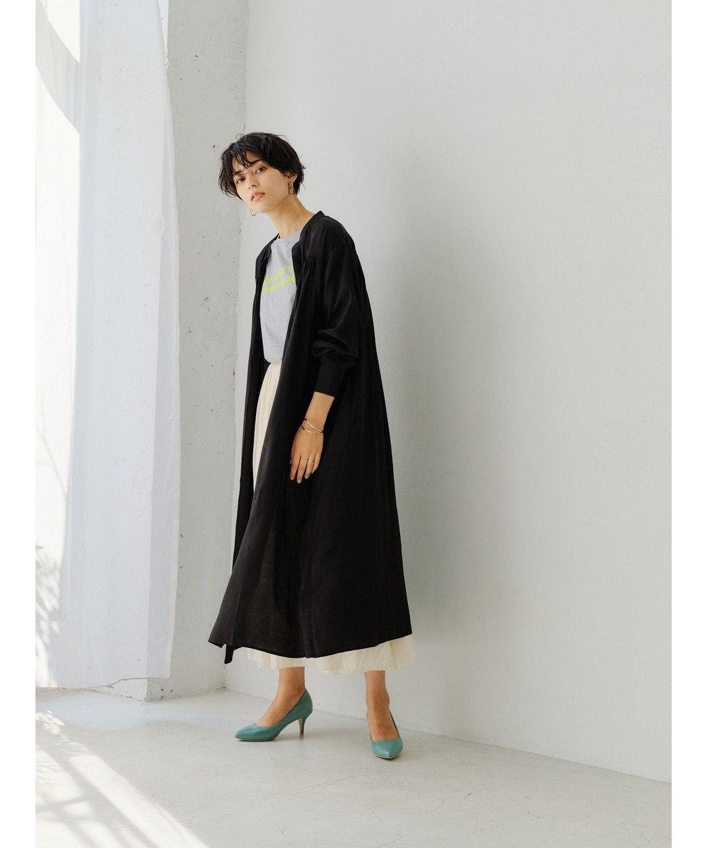 YECCA VECCA ベルト付きギャザーシャツワンピース Black