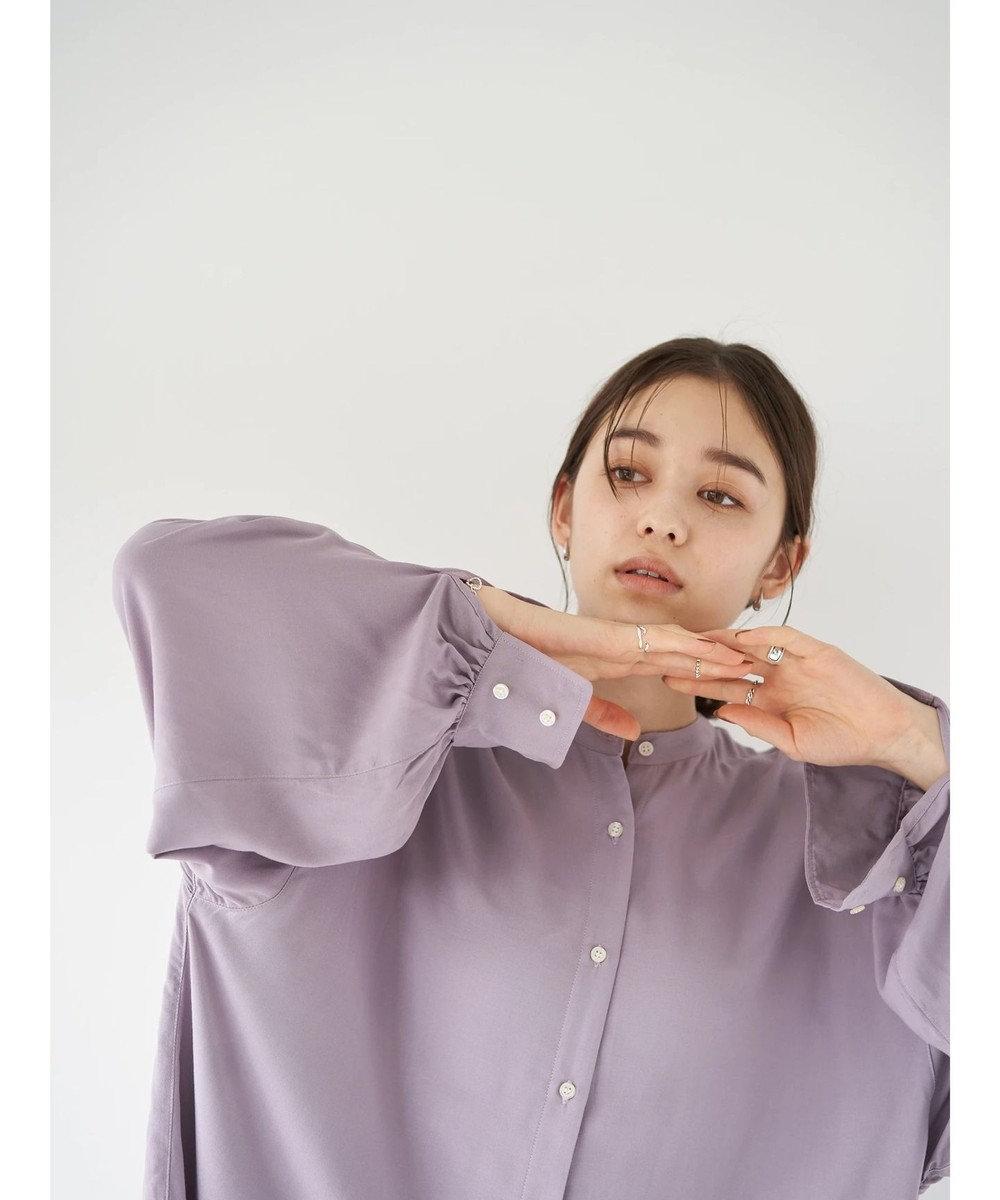 earth music&ecology レーヨンイージーケアシャツ(チュニック) Lavender