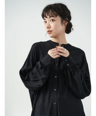 earth music&ecology レーヨンイージーケアシャツ(チュニック) Black