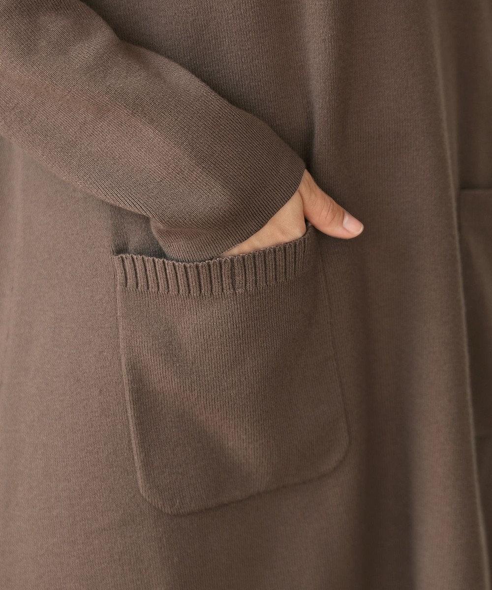 Tiaclasse 【新色追加・洗える】体型カバーも叶う、ニットパーカーチュニック モカ