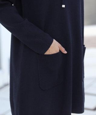 Tiaclasse 【新色追加・洗える】体型カバーも叶う、ニットパーカーチュニック ネイビー
