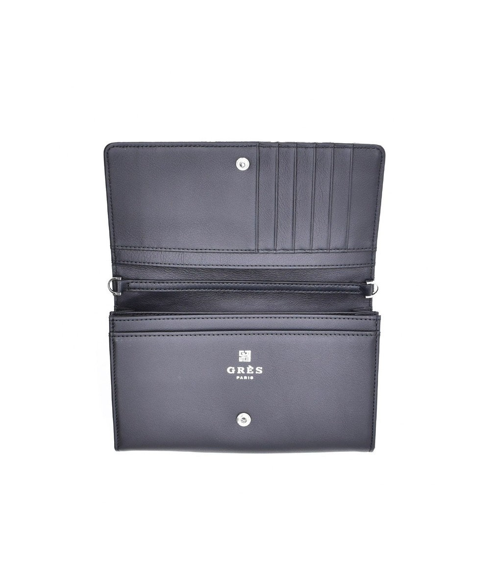 MIYABIYA GRES コパン スムースレザー お財布機能付き2wayショルダーバッグ ブラック/パイソン