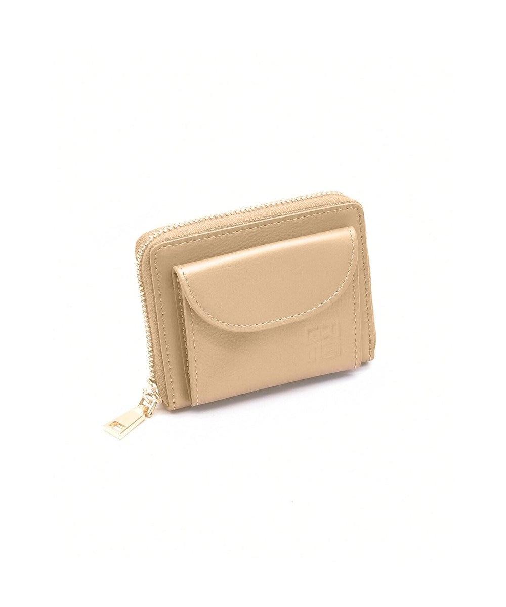 MIYABIYA GRES コパン スムースレザー コインケース付きカードウォレット ミニ財布 ゴールド