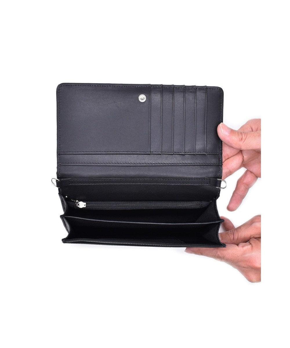 MIYABIYA GRES クリニエール お財布機能付き スムースレザー2wayショルダーバッグ ブラック/ゼブラ