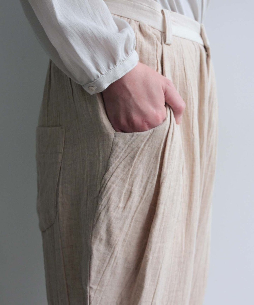 muuc コットンリネン・ダブルフェイス生地のパンツ ベージュ