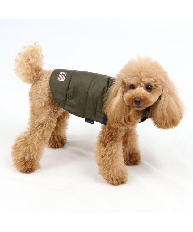 PET PARADISE J.PRESS 配色 綿入ベストカーキ 〔超小型・小型犬〕