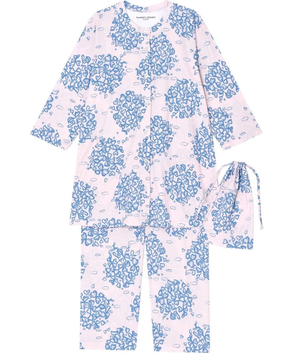 tsumori chisato SLEEP パジャマ 8分袖8分丈 サークルリーフ柄 /ワコール UDQ127 ピンク