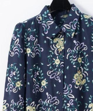 GRACE CONTINENTAL 刺繍シャツワンピース ネイビー