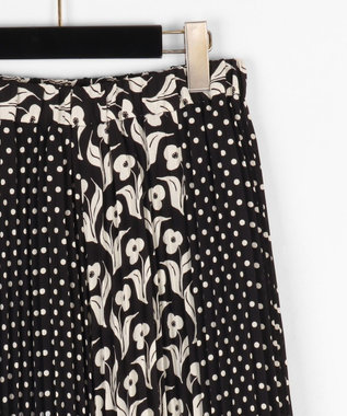 GRACE CONTINENTAL バイカラープリントスカート ブラック