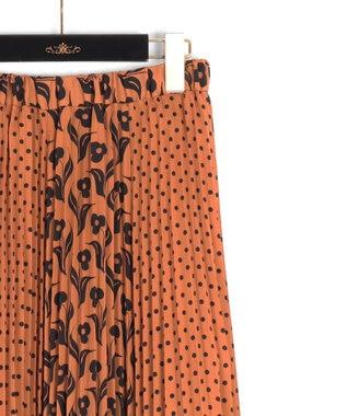 GRACE CONTINENTAL バイカラープリントスカート ブラウン