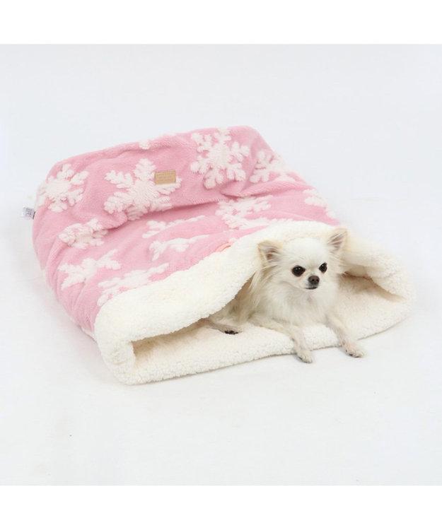 PET PARADISE ペットパラダイス 遠赤外線 雪柄 筒型 寝袋カドラーM 42×70