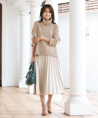 Tiaclasse 【洗える】大人上品なスエード調プリーツスカート アイボリー
