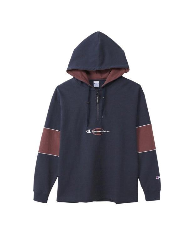Champion 【MEN】ハーフジップロングスリーブフードTシャツ
