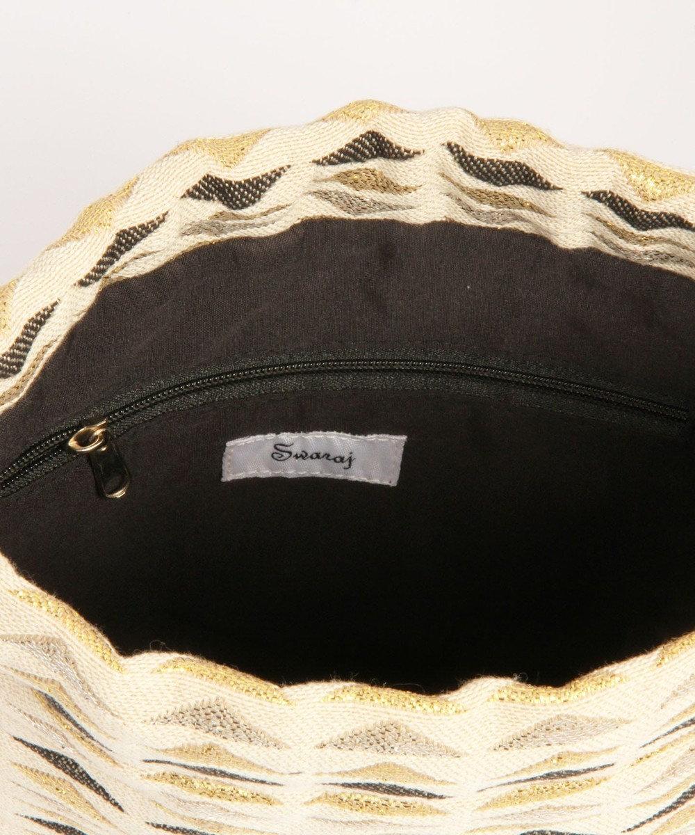 WYTHE CHARM 【インド産ジャガード】ミニマル巾着バッグ(三角メタリック柄) ベージュ
