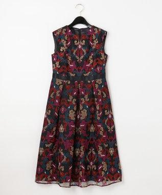 GRACE CONTINENTAL オーナメントチュール刺繍ドレス ブラック