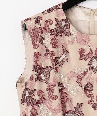 GRACE CONTINENTAL オーナメントチュール刺繍ドレス ベージュ
