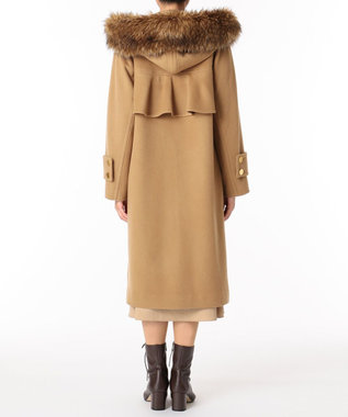 GRACE CONTINENTAL フードファー付ウールコート キャメル