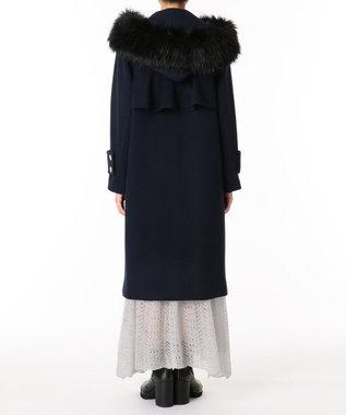 GRACE CONTINENTAL フードファー付ウールコート ネイビー