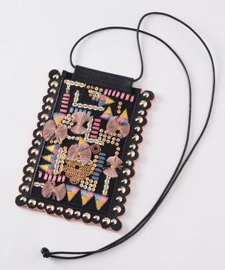 GRACE CONTINENTAL 刺繍モバイルショルダー ブラック