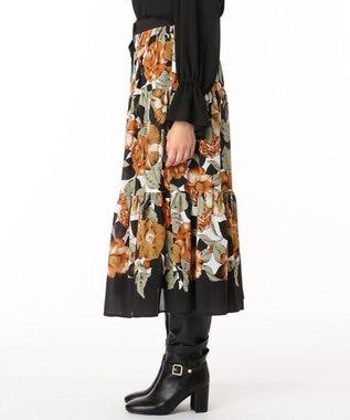 GRACE CONTINENTAL フォークロアflowerスカート ブラック
