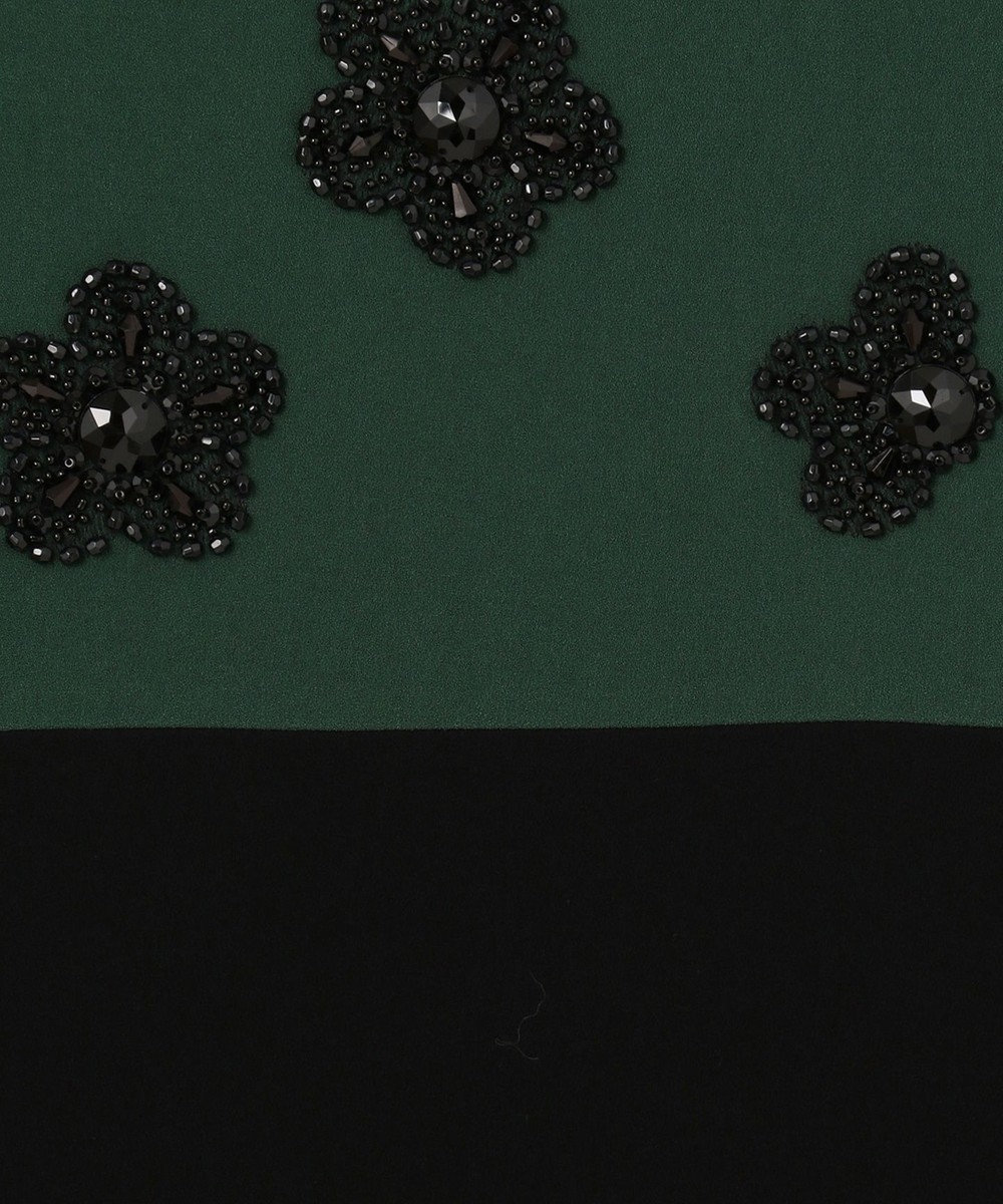 GRACE CONTINENTAL ビジューフラワータイトワンピース グリーン