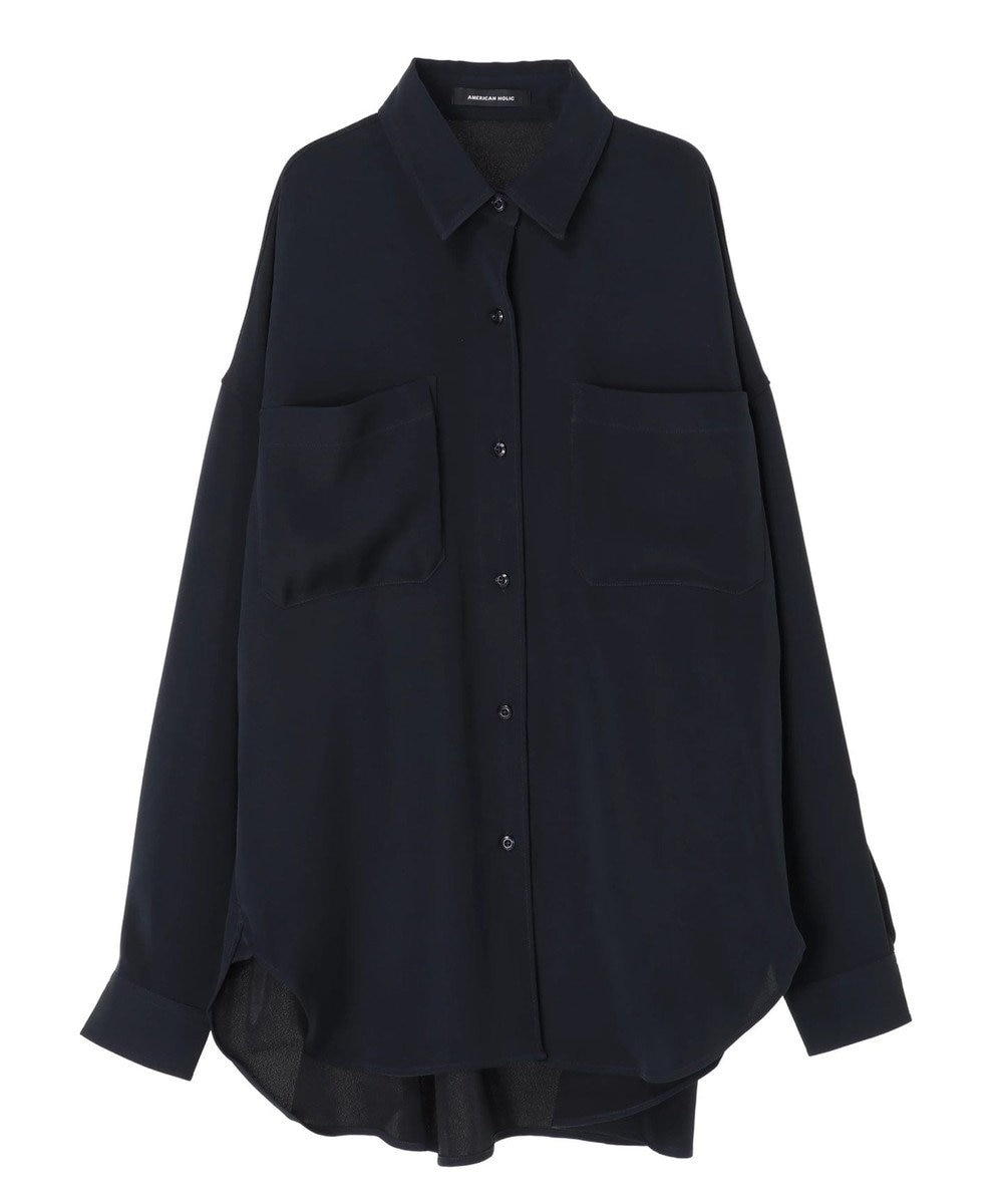 AMERICAN HOLIC WポケットとろみBIGシャツ Navy