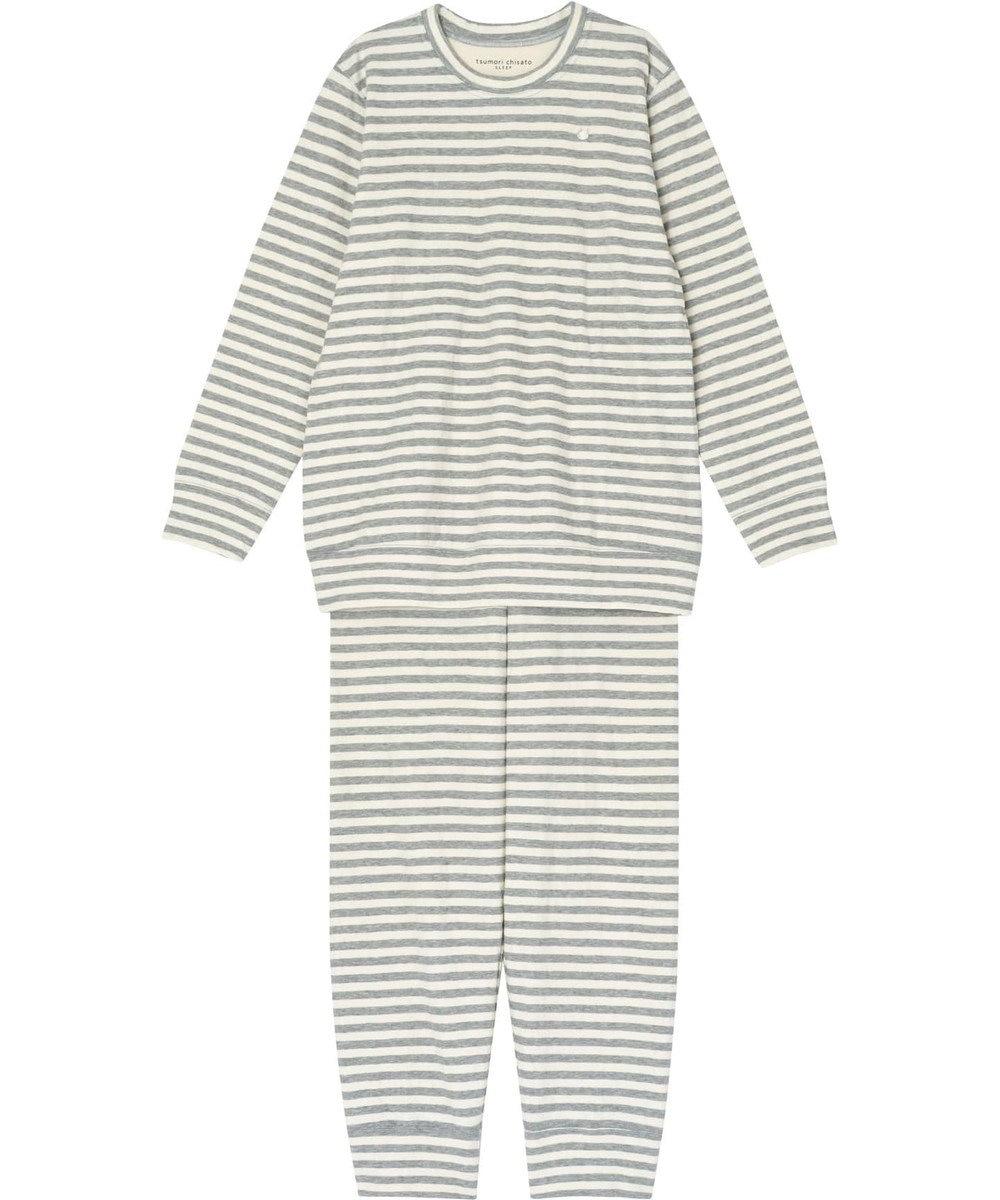 tsumori chisato SLEEP パジャマ ロング袖ロング丈 ボーダー柄・ネコ顔刺繍 /ワコール UDQ232 グレー