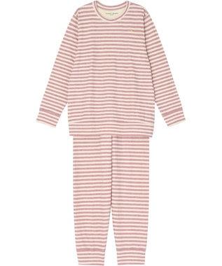 tsumori chisato SLEEP パジャマ ロング袖ロング丈 ボーダー柄・ネコ顔刺繍 /ワコール UDQ232 ピンク