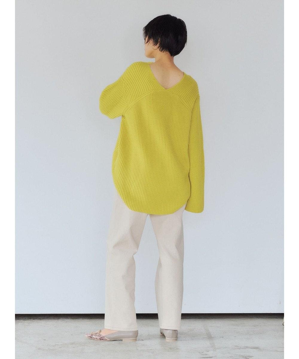 YECCA VECCA 畦編みVネックニット Yellow