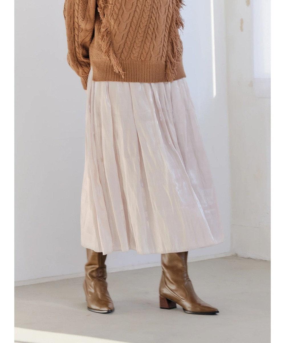 YECCA VECCA ・チュール×サテンリバーシブルスカート Gray Beige