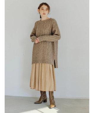 YECCA VECCA ・チュール×サテンリバーシブルスカート Camel