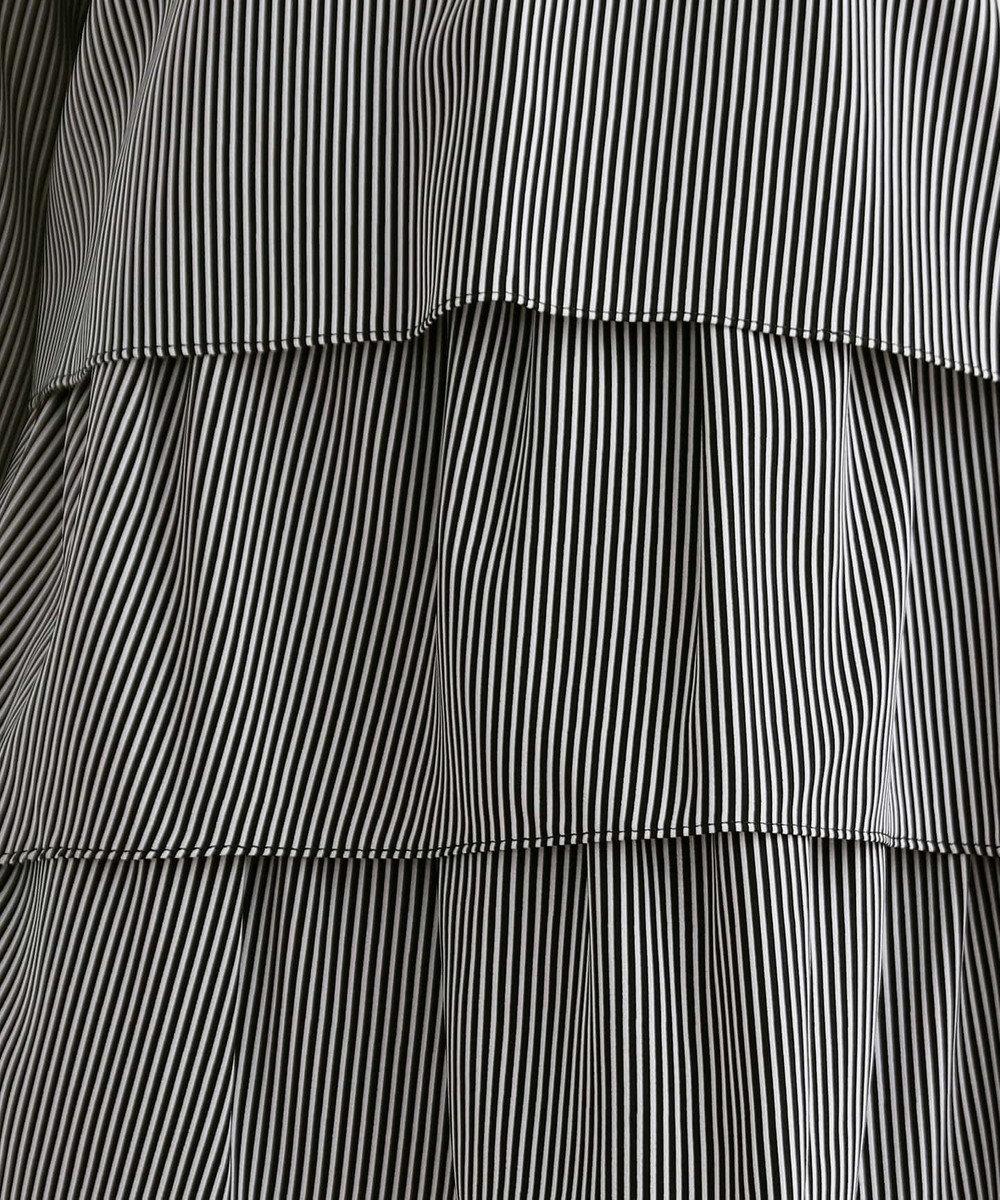 Tiaclasse 【洗える】大人上品なティアードブラウス ブラックストライプ