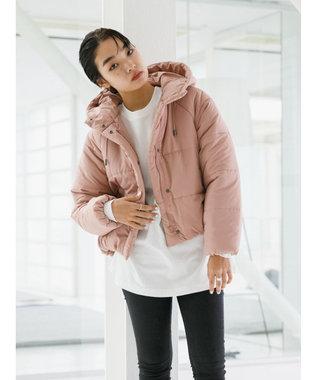 koe 中綿フード付きショートコート Pink Beige