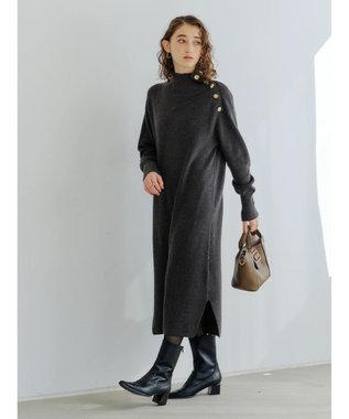 YECCA VECCA ・釦デザインハイネックニットワンピース Charcoal Gray