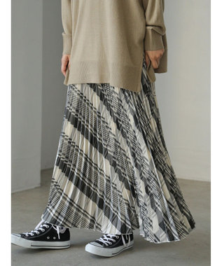 AMERICAN HOLIC ウエストフリルプリーツスカート Check Ivory