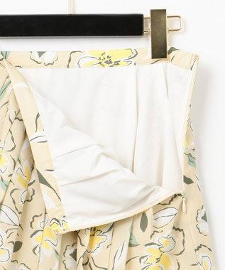 GRACE CONTINENTAL フラワープリントプリーツスカート ベージュ