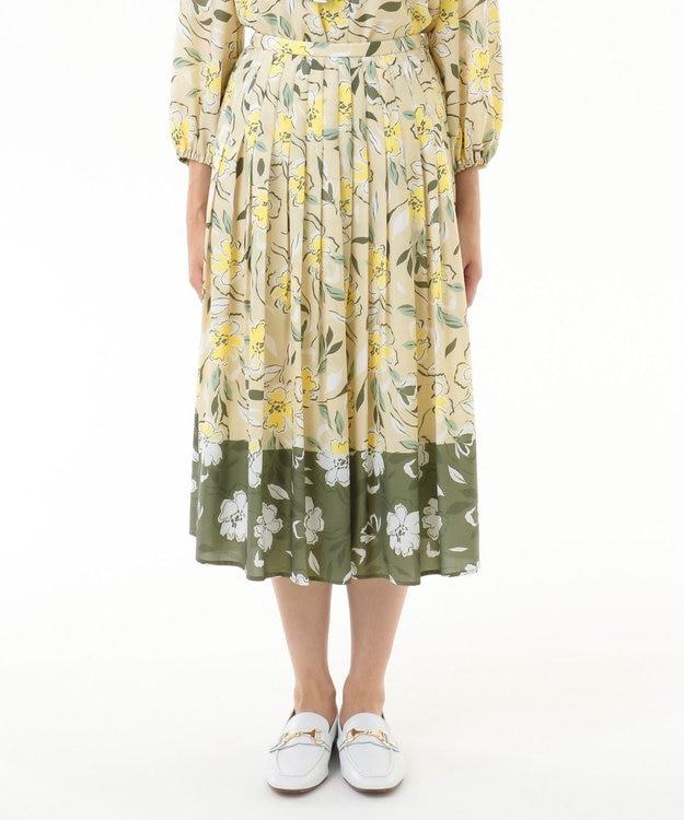 GRACE CONTINENTAL フラワープリントプリーツスカート