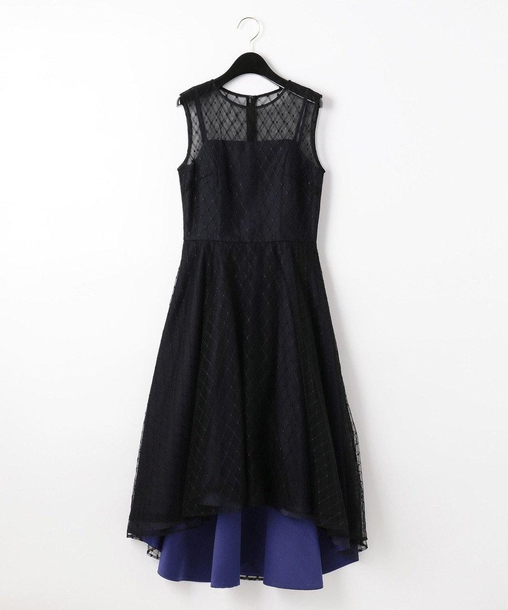 GRACE CONTINENTAL メッシュチュール刺繍ドレス ブラック