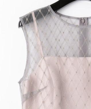 GRACE CONTINENTAL メッシュチュール刺繍ドレス グレー