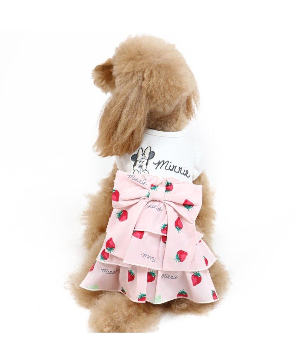 PET PARADISE ディズニー ミニーマウス 苺 総柄 ワンピース 〔超・小型犬〕 ピンク(淡)
