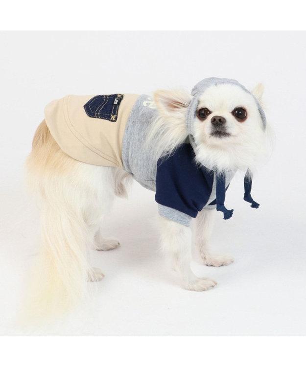 PET PARADISE Lee 春 パーカー グレー&ブラウン 〔超小型・小型犬〕