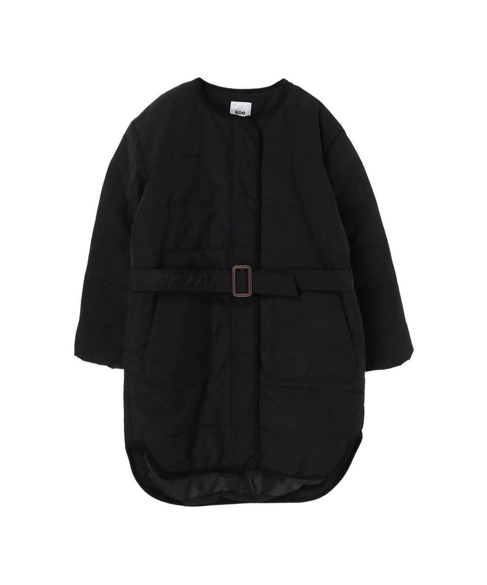 koe ・中綿パイピングロングコート Black