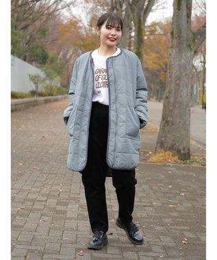 koe ・中綿パイピングロングコート Blue