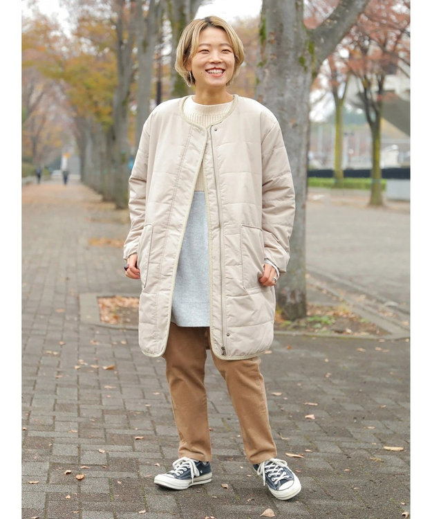 koe ・中綿パイピングロングコート