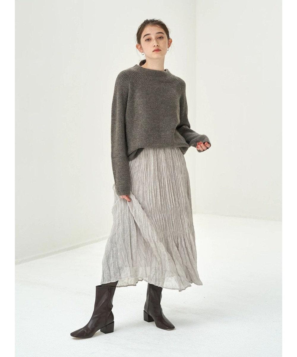 YECCA VECCA ・ドビーシフォンプリーツスカート Gray Beige