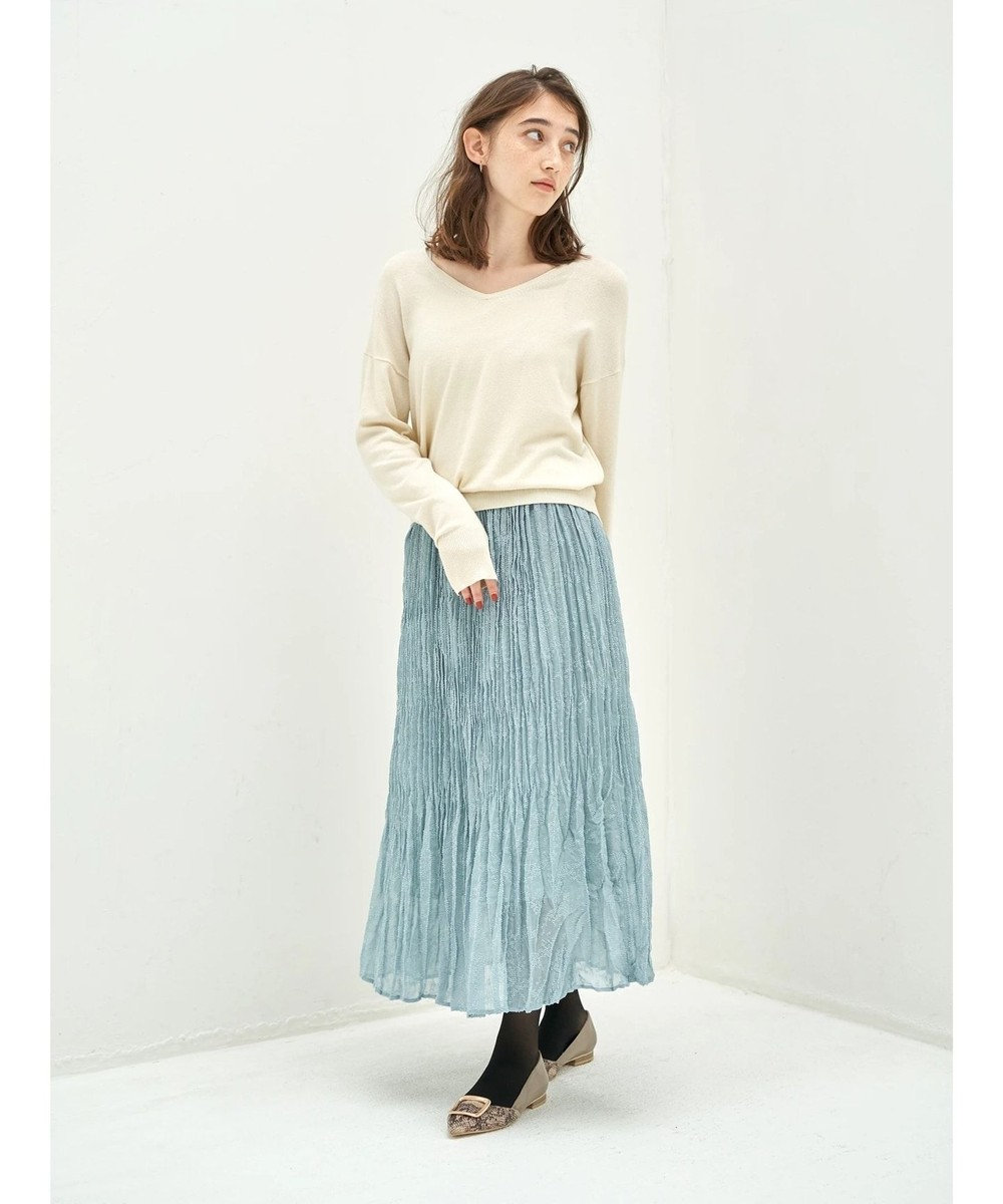 YECCA VECCA ・ドビーシフォンプリーツスカート Sax