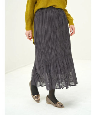 YECCA VECCA ・ドビーシフォンプリーツスカート Charcoal Gray