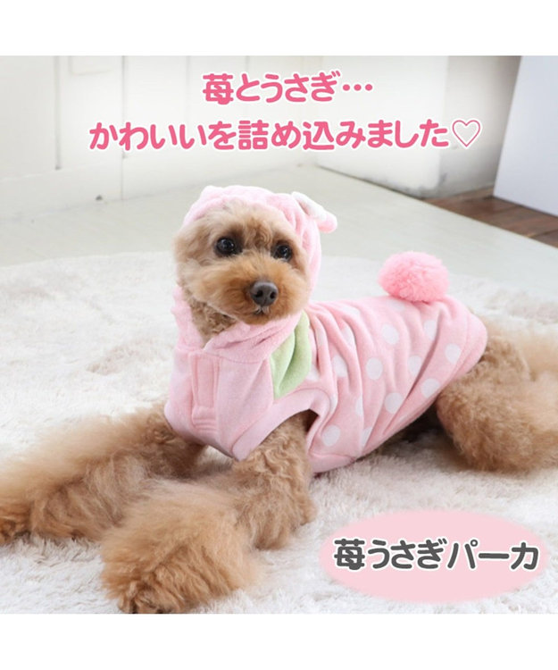 PET PARADISE ペットパラダイス 苺 うさぎ パーカー 〔超小型・小型犬〕