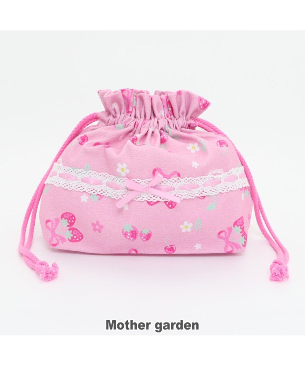 Mother garden マザーガーデン 野いちご  ランチ巾着  《ブーケ柄》 お弁当袋 ピンク(淡)
