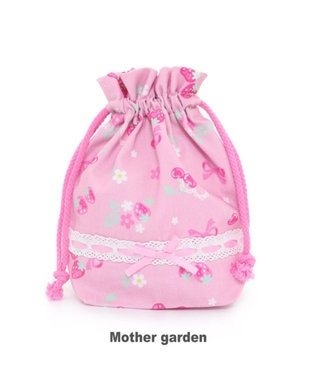 Mother garden マザーガーデン 野いちご コップ 巾着袋 《ブーケ柄》 ピンク(淡)